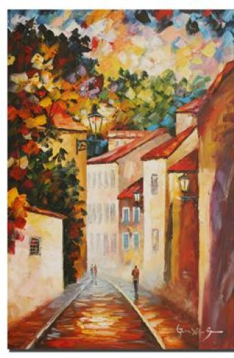 original paintings a narrow street posters