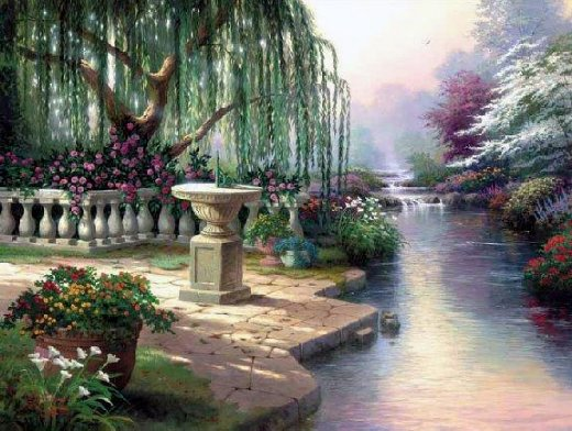 original paintings a weeping willow by the river of a park painting