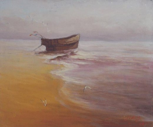 original paintings a wooden boat on the beach painting