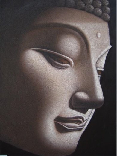 original paintings gray buddha painting