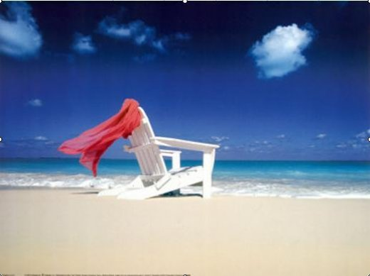 original paintings red silk and chair on the beach painting