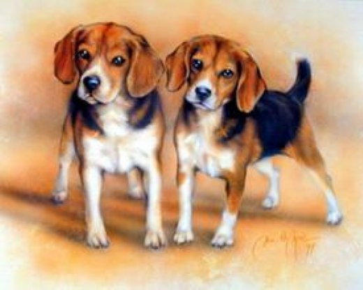 original paintings two beagles painting
