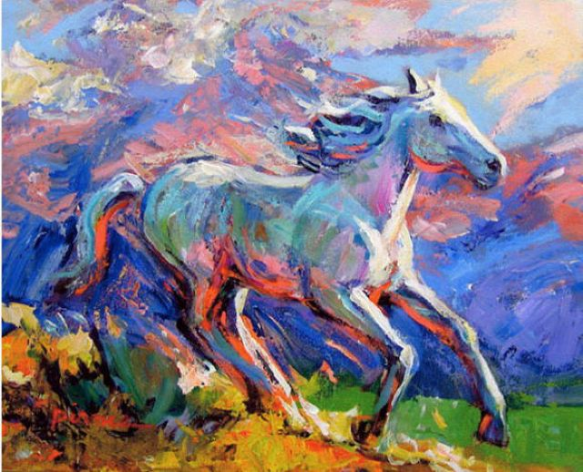 original abstract a horse 10 oil painting