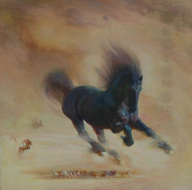 original abstract a horse 6 painting