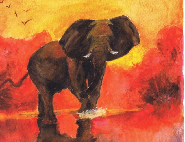 original abstract elephant 3 oil painting