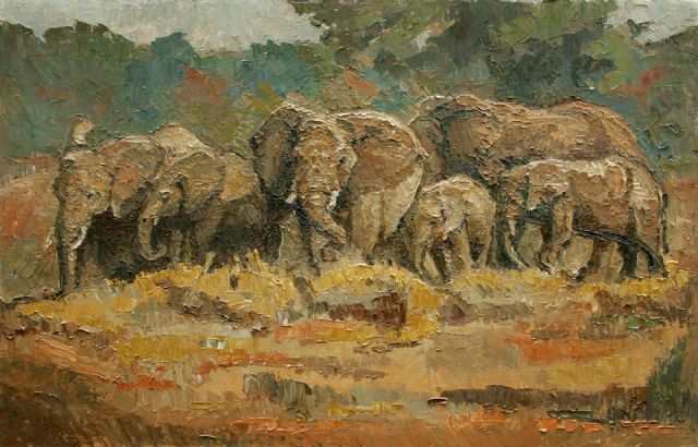 original abstract elephants 2 oil painting