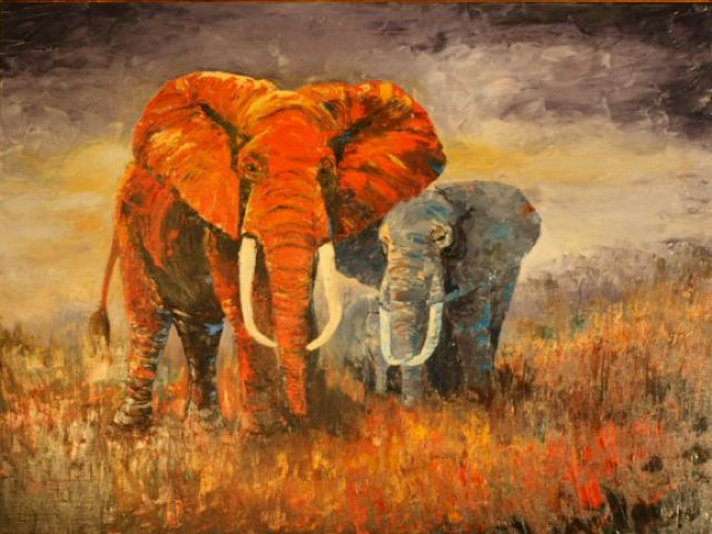 original   abstract elephants 3 painting