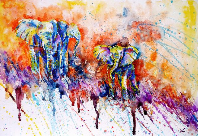 original   abstract elephants painting