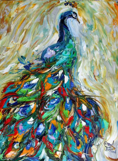 original   abstract peacocks painting