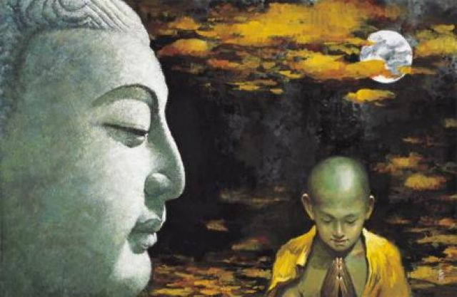 original buddha and child monk paintings