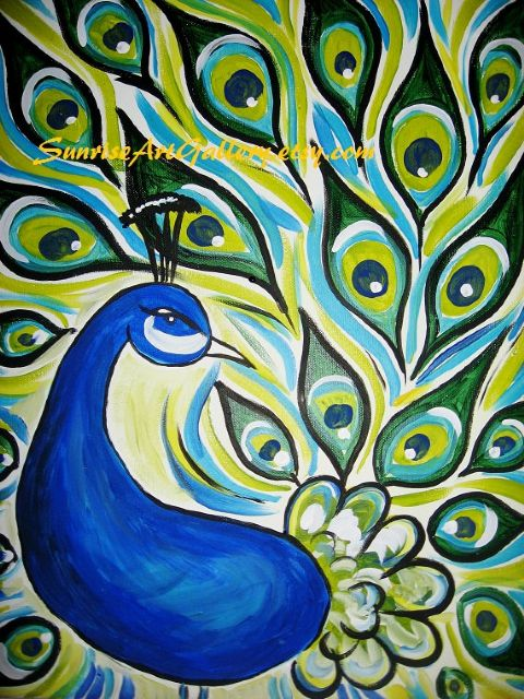 original   one peacock 2 painting