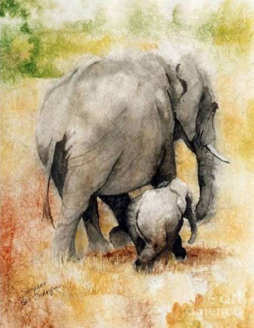 original   two elephants painting