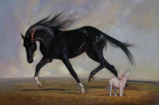 original two horses 1 oil painting