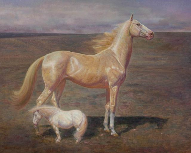 original   two horses 2 painting
