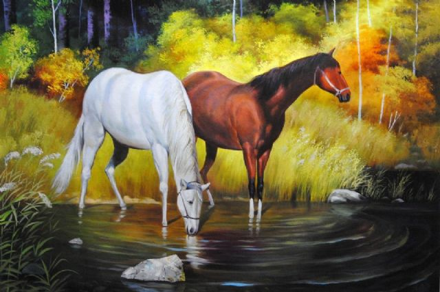 original two horses 5 painting