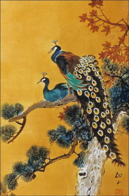 original two peacocks on tree 2 painting