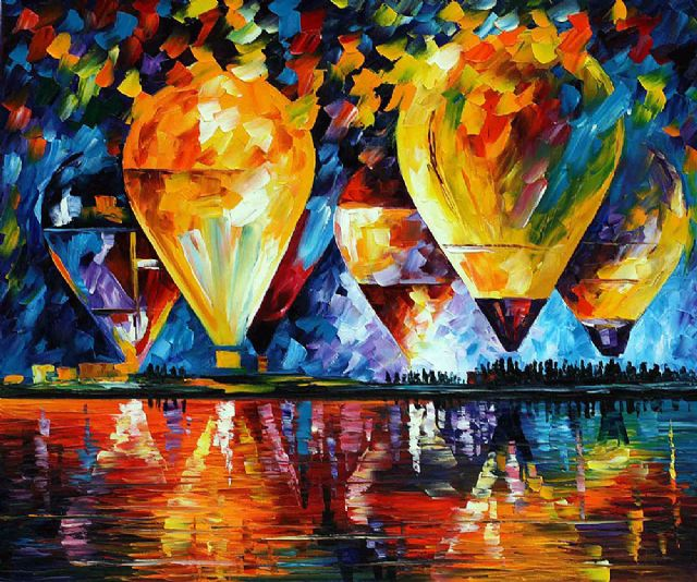 original abstract balloon sky paintings