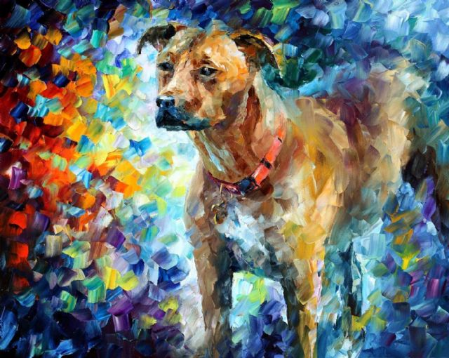 original abstract dog 3 painting