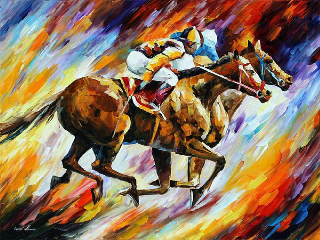 original abstract final spurt horses painting