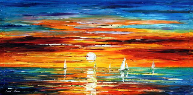 original abstract sunset seascape posters
