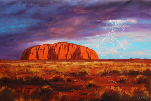 original australia uluru outback moutain paintings