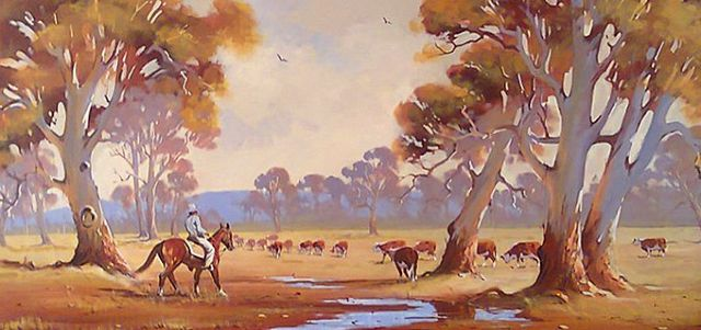 original australian cattle ranching painting