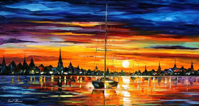 original calm sunset seascape paintings