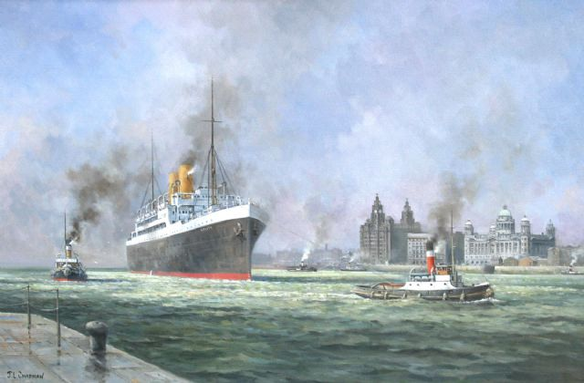 original canadian pacific liner_melita at liverpool circa canada seascape painting