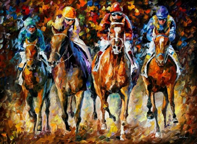 original follow the leader horse racing paintings