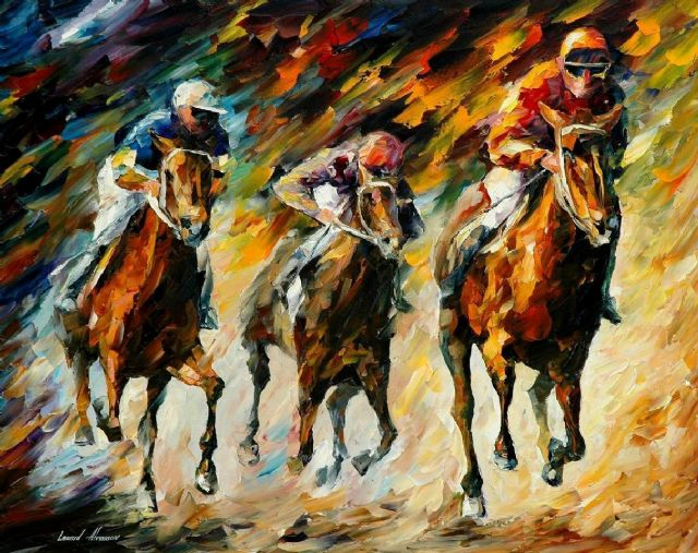 original horse race instant of success painting