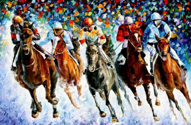 original horse race on the snow painting