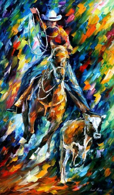 original horse racing cowboy painting