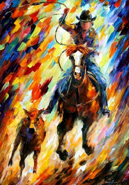 original horse rodeo the chase painting