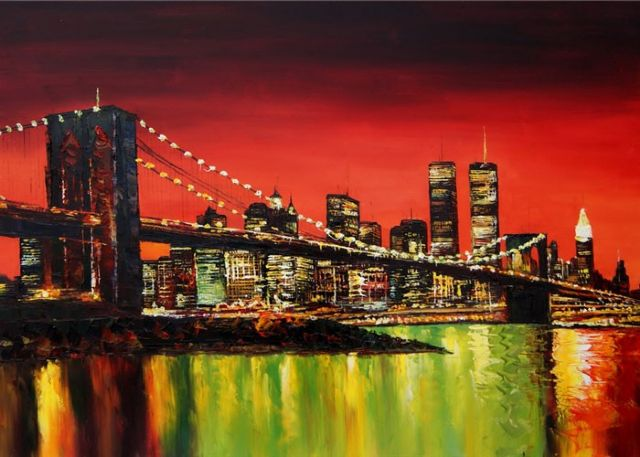 original modern new york landscape 3 oil painting