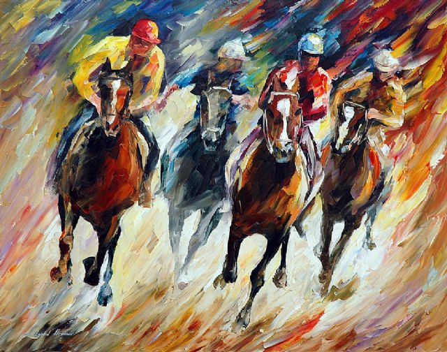 original on the sharp turn horse race paintings