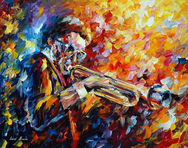 original saxophonist music player painting