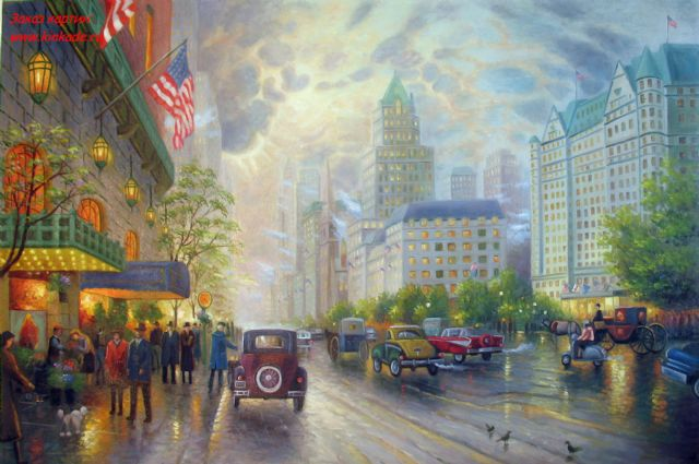 original thomas kinkade new york 5th avenue 2 painting