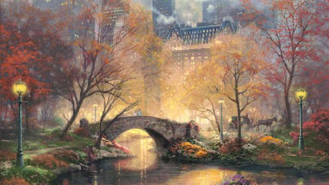 original thomas kinkade new york city 2 paintings
