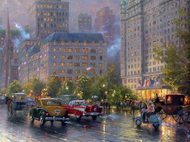 original thomas kinkade new york city 4 paintings