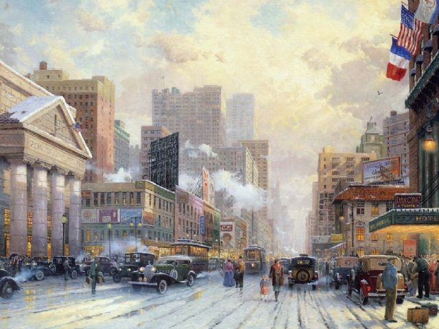 original thomas kinkade new york city painting