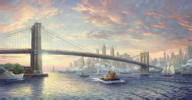 original thomas kinkade spirit of new york city painting
