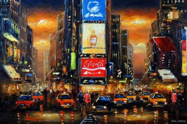 original times square new york city oil painting