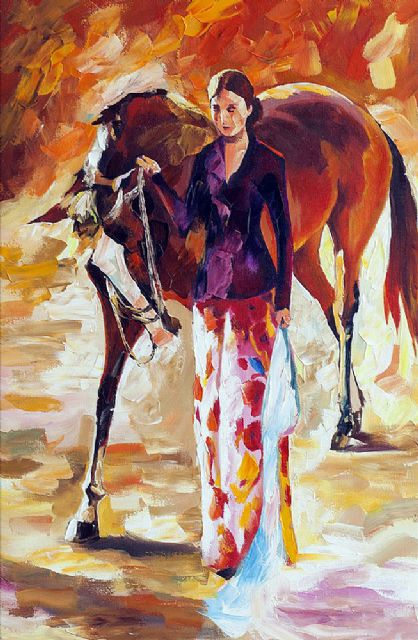original woman with horse oil painting