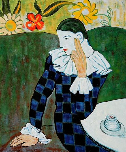 pablo picasso harlequin leaning on his elbow paintings