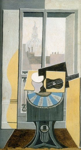 pablo picasso still life in front of a window overlooking the eglise st. augustin painting