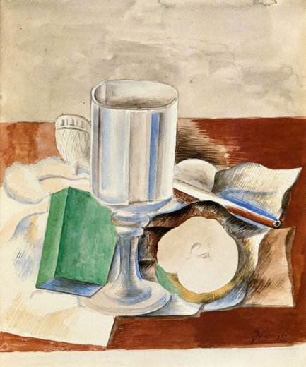 pablo picasso still life with class and an apple paintings