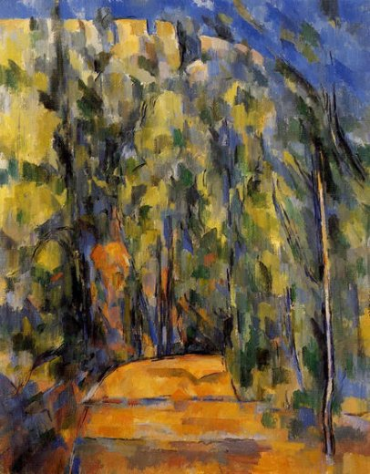 paul cezanne bend in the forest road painting