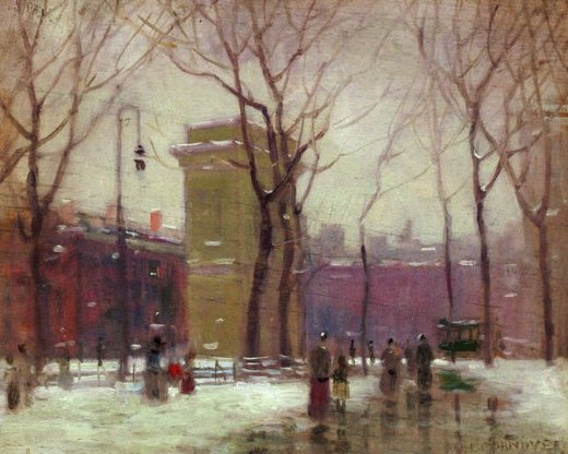 paul cornoyer winter washington square painting