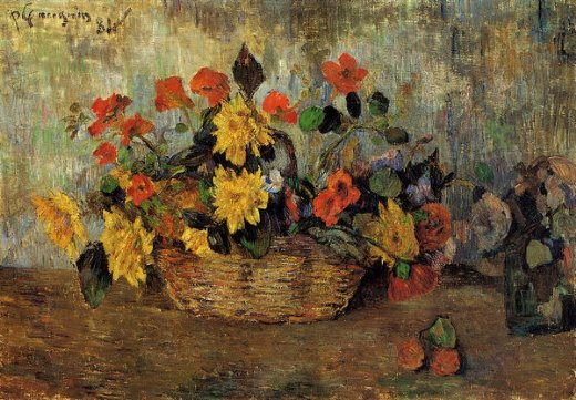 paul gauguin nasturtiums and dahlias in a basket painting