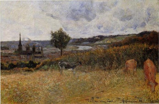 paul gauguin near rouen ii painting